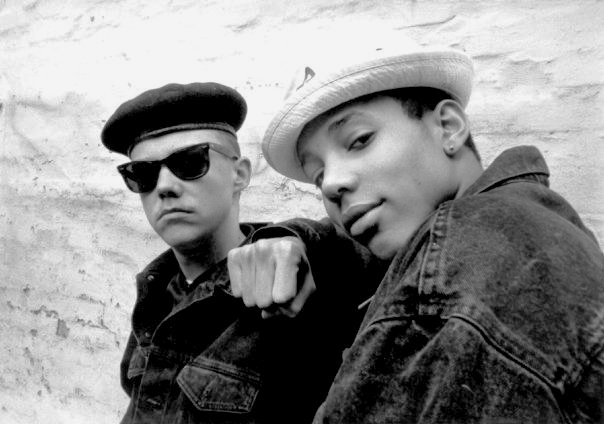 Soulshock (left) with partner in rhyme See-Que, circa 1988. The era of Fila, Ray-Bans and berets.